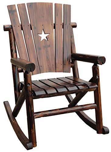 Rustic High Back Rocking Chair - Char-Log Single Rocker with Star