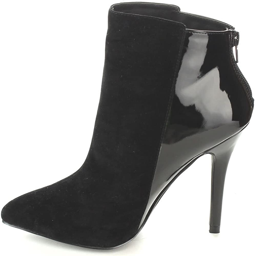 Size:10 Color:BLACK C-LABEL COSMO-3 Womens Faux Suede Back Zipper Pointed Toe Stiletto Heel Ankle Booties