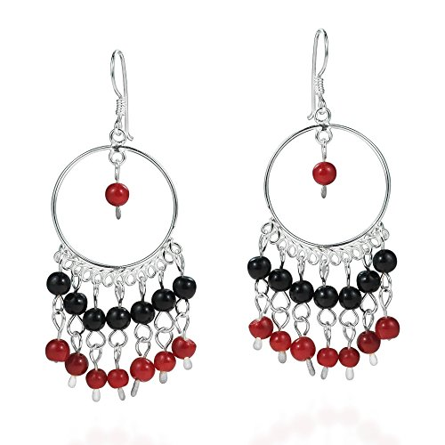 (Red-Black Hoop Circle Chandelier .925 Sterling Silver Dangle Earrings)