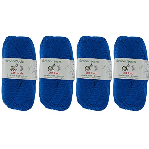 BambooMN Brand Soft Touch Yarns - Solids 4x 50g Regular Balls - Acrylic - Brilliant Blue (Sock Cotton Yarn)