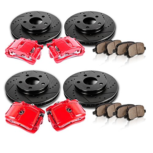 FRONT + REAR Powder Coated Red [4] Calipers + [4] Black Rotors + Quiet Low Dust [8] Ceramic Pads Performance