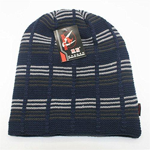 Gorra libre azul BaronHong Slouchy aire Skully Stripes al Deportes Unisex Cap Sombrero oscuro Velvet Warm qHHIAO7
