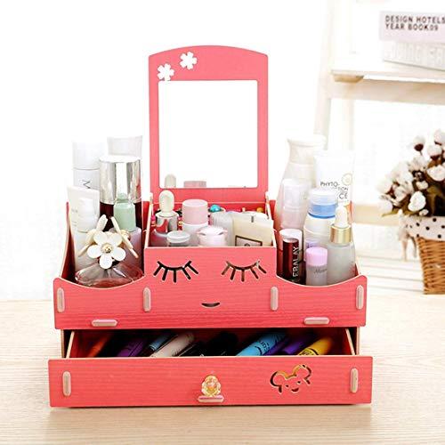 243 Storage Cabinet - QIAOQ Women Cosmetics Storage Box Mirror Drawer Desktop Wooden Handmade DIY,Red