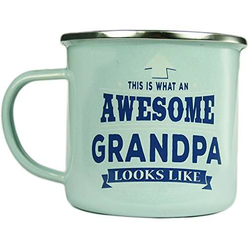 Grandpa, Large Camping Coffee Mug, Enamel, 14 oz, Multi-Colored, Light-Weight, Retro Inspired for Men