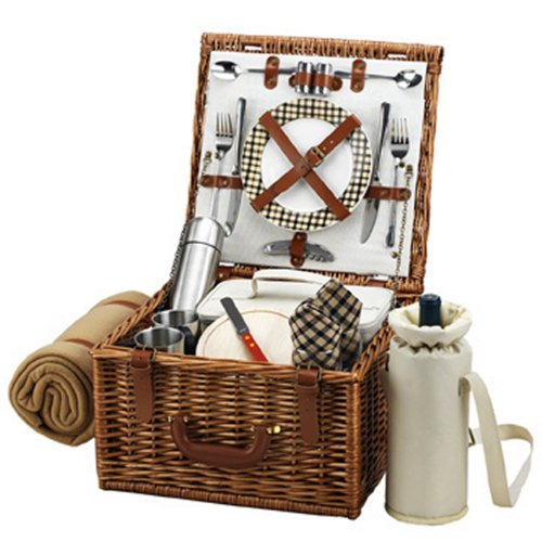 Picnic at Ascot Cheshire English-Style Willow Picnic Basket with Service for 2,  Coffee Set and Blanket - London Plaid ()