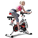 HARISON Indoor Cycling Bike Belt Drive Stationary Exercise Bike with iPad Holder, 29lbs Flywheel, 280lbs Capacity Fitness Bicycle with Monitor, Free Water Bottle Gift by B1850