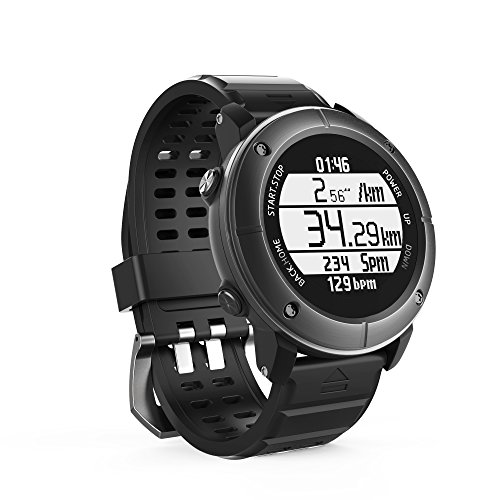 Smart Watch,Outdoor sports running IP68 waterproof The treadmill Watch with Global PositioningThe System,Heart Rate,Compass,Pedometer for IOS Iphone,Android (Iron gery-80C) by UWear