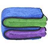 """720gsm Ultra Thick Plush Microfiber Car Cleaning Towels Buffing Cloths Super Absorbent Drying Auto Datailing Towel (16""""x16"""", Blue/Purple)"""