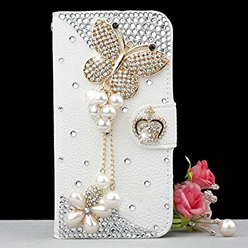 (KAKA(TM Butterfly Rhinestone Pearls Fashion Style PU Leather Wallet Flip Protective Skin Case Cover with Credit Card Holder For Samsung Galaxy S6 Edge Plus)