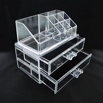 Amazon Com Luxury Acrylic Cosmetic Organizer Makeup Box 2 Drawers
