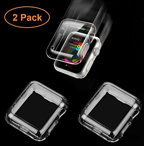 Apple Watch Case, [2pack] Wolait 38mm Clear Soft TPU Case for with Built-in Screen Protector for Apple Watch Series 3 Series 2 Series 1