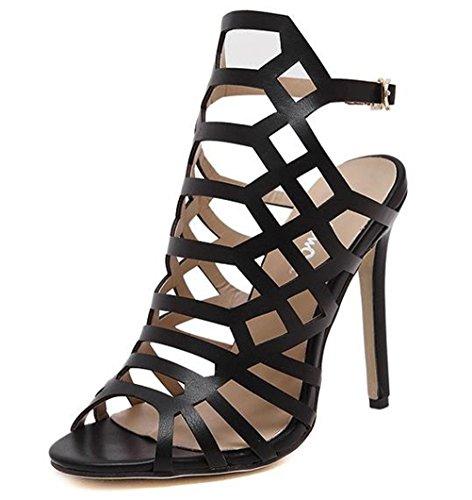 YINHAN Women's Fashion Summer Shoes Hollow Out Heeled