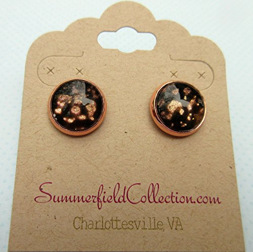 Rose Gold-tone Black Spotted Glitter Glass Stud Earrings Hand-painted 12mm Bezel Brown Earrings