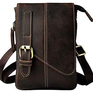 Genuine Leather Handbag,Dark Brown Handbag,Small Messenger Shoulder Satchel,Waist Bag Pack