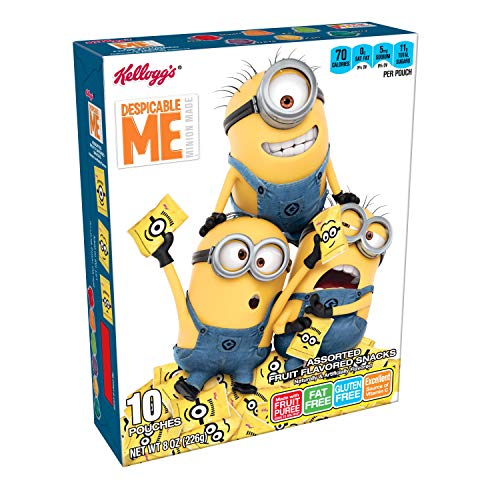 Kellogg's Fruity Snacks, Despicable Me, Assorted Fruit Flavored Snacks, Minion Made, Gluten Free, Fat Free, 8oz (10 -