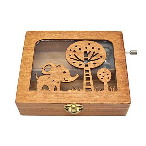 Anlydia Vintage Wooden Animal Pattern Hand Cranked Jewelry Music Box Trinket Box (Elephant)