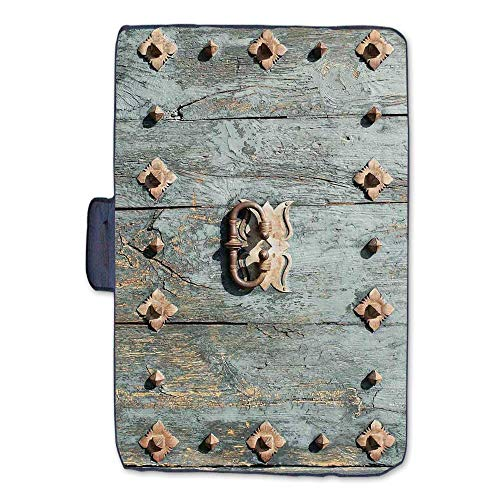 - Rustic Stylish Picnic Blanket,European Cathedral with Rusty Old Door Knocker Gothic Medieval Times Spanish Style Decorative Mat for Picnics Beaches Camping,50