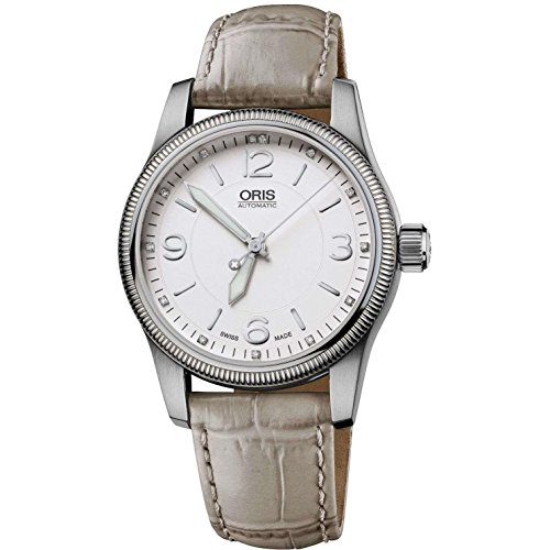 Oris 73376494031Ls Women's Swiss Hunter Team Ps Edition Diamond Auto Grey Leather Watch