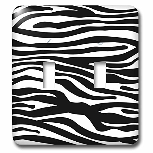 (3dRose lsp_56676_2 Black and White Zebra Stripe Pattern-Animal Print Collection-Funky and Groovy Double Toggle Switch,)