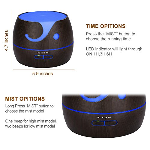 KEDSUM 400ml Aroma Essential Oil Diffuser,Wood Grain Ultrasonic Cool Mist Humidifier with 7 Color LED Lights 4 Timer Settings for Office Home Bedroom Baby Room Study Yoga Spa by KEDSUM (Image #2)