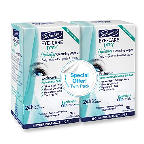 Dr. Fischer Eye Care Dry - Complementary aid for dry eye syndrome. Daily hydrating eyelid wipes to clean, soften & moisturize the eye area of ocular secretions and irritations (Twin Pack, 60 wipes) ()