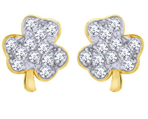 - Christmas Sale Round Cut White Natural Diamond Accent Lucky Irish Shamrock Clover Stud Earrings In 10K Solid Yellow Gold