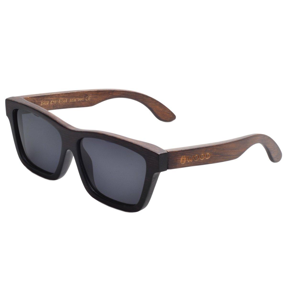 Iwood Marco de bambú Handcrafted Pintura Gris polarizado Gris lente Gafas de sol madera