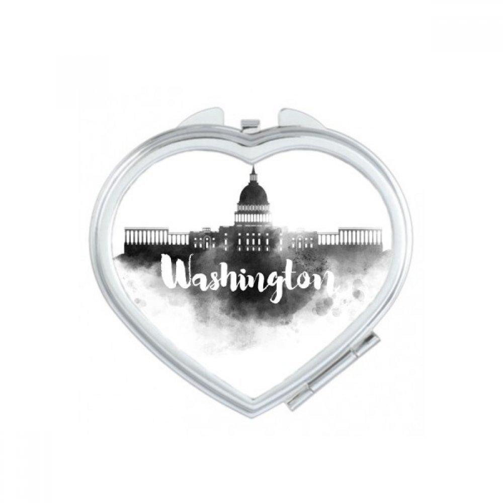 Washington America Ink City Heart Compact Makeup Pocket Mirror Portable Cute Small Hand Mirrors Gift