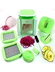 4-in-1 Vegetable Chopper for Onion, Potato, Veggie, Fruit – Food Cutter, Dicer, Spiralizer (Green)