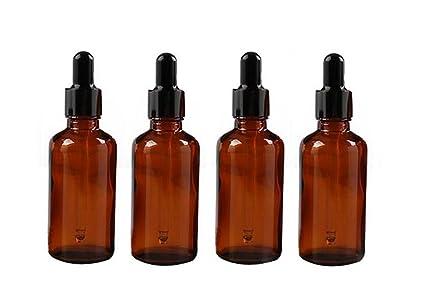 4 botellas vacías de cristal de ámbar recargables de 50 ml para aceites esenciales, productos