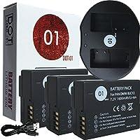 3x DOT-01 Brand Panasonic FZ300 Batteries and Dual Slot USB Charger for Panasonic FZ300 Camera and Panasonic FZ300 Battery and Charger Bundle for Panasonic BLC12 DMW-BLC12