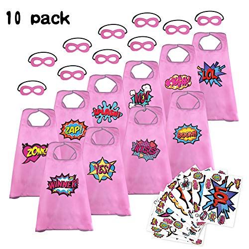 Flying Childhood Boys Girls SuperheroCapesandMasks forKids-Toddlers Party DressUp Costume with Hero Stickers,10Pack