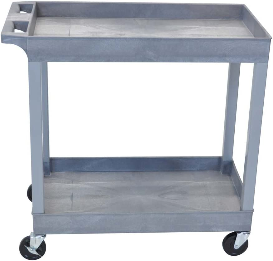 "LuxorEC11-G Tub Storage Cart 2 Shelves - Gray , 32"" x 18"""