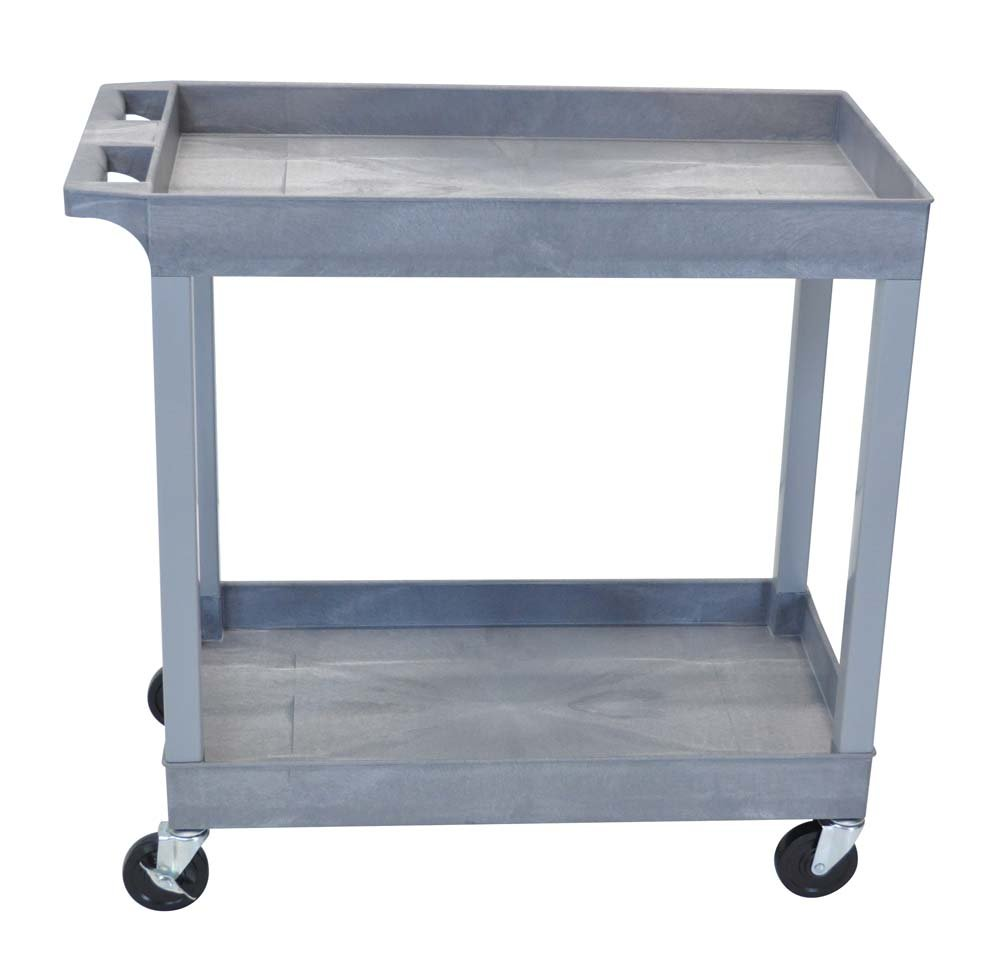 Luxor  EC11-G Tub Storage Cart 2 Shelves - Gray , 32'' x 18''