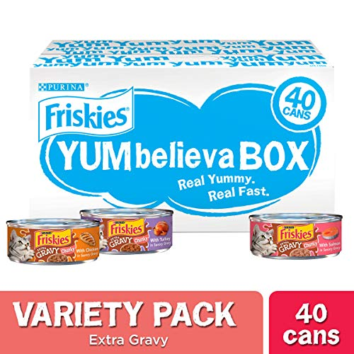 Purina Friskies Gravy Wet Cat Food Variety Pack, YUMbelievaBOX YUM-azing Extra Gravy Chunky – (40) 5.5 oz. Pull-Top Cans