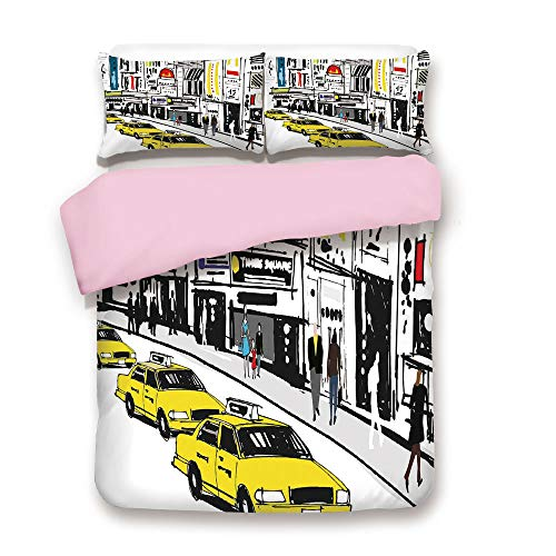 Pink Duvet Cover Set/Queen Size/Times Square New York with People in Street Taxi Cabs Traffic Fashion Illustration/Decorative 3 Piece Bedding Set with 2 Pillow Sham/Best Gift For Girls Women/Multicolo