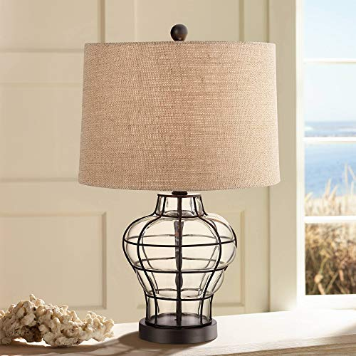 Croyton Nautical Accent Table Lamp Clear Blown Glass Metal Cage Burlap Drum Shade for Living Room Family Bedroom Bedside - 360 Lighting