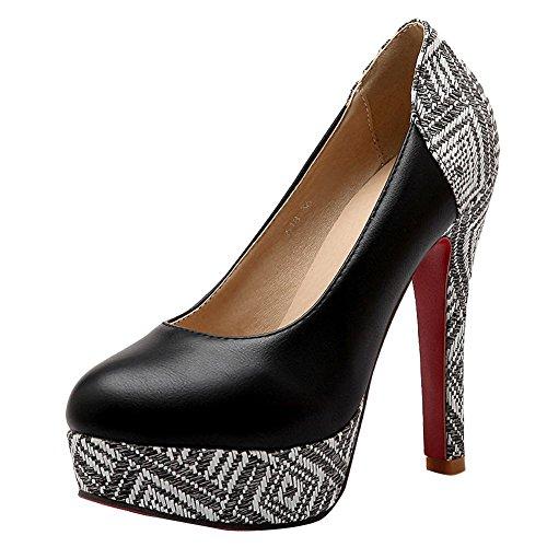 à Escarpins Talons Enfiler Noir Fermetures Hauts Femmes MissSaSa Chaussures Plateformes x4gS7awn1q
