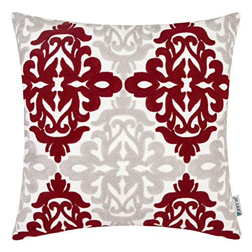 HWY 50 Burgundy Decorative Embroidered Throw Pillows Covers Cushion Cases for Couch Sofa Bed Wine Red Grey 18 x 18 inch Accent Geometric Floral 1 Piece (And Red Pillows Grey)