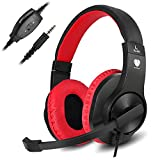 Cheap PC Stereo Gaming Headset, PS4, Xbox One Games Headphones with mic, Bass Surround, Volume Control, Noise Cancelling for Laptop, Controller, Mac (Red)