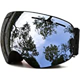 JULI Ski Goggles,Winter Snow Sports Snowboard Goggles with Anti-fog UV Protection Interchangeable Spherical Dual Lens for Men Women & Youth Snowmobile Skiing Skating