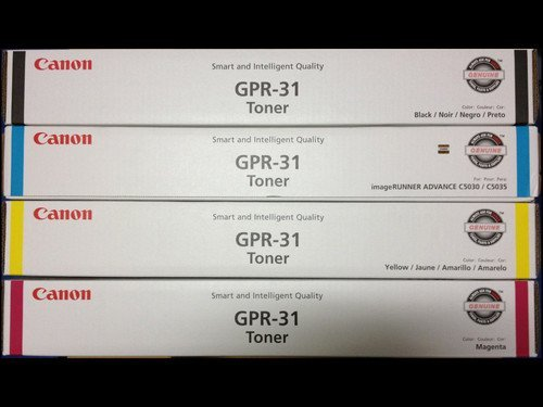 (Canon GPR-31 OEM Genuine Toner Cartridge Combo for Canon ImageRunner C5030, C5035 Printer (BCMY One Each: 2790B003AA/ 2802B003AA/ 2798B003AA/ 2794B003AA)