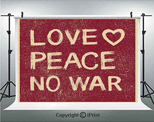 1960s Decorations Photography Backdrops Love Peace No War Text Pacifist Rusty Line Political Hippie Groovy Artistic Design Decorative,Birthday Party Background Customized Microfiber Photo Studio Props -