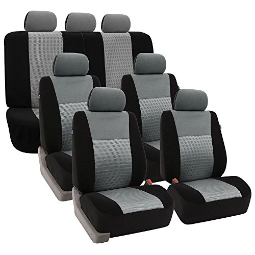 FH Group FH-FB060217 Three Row Trendy Elegance Car Seat Covers w. 7 Headrests, Airbag Compatible and Split Bench, Gray/Black Color- Fit Most Car, Truck, SUV, or Van