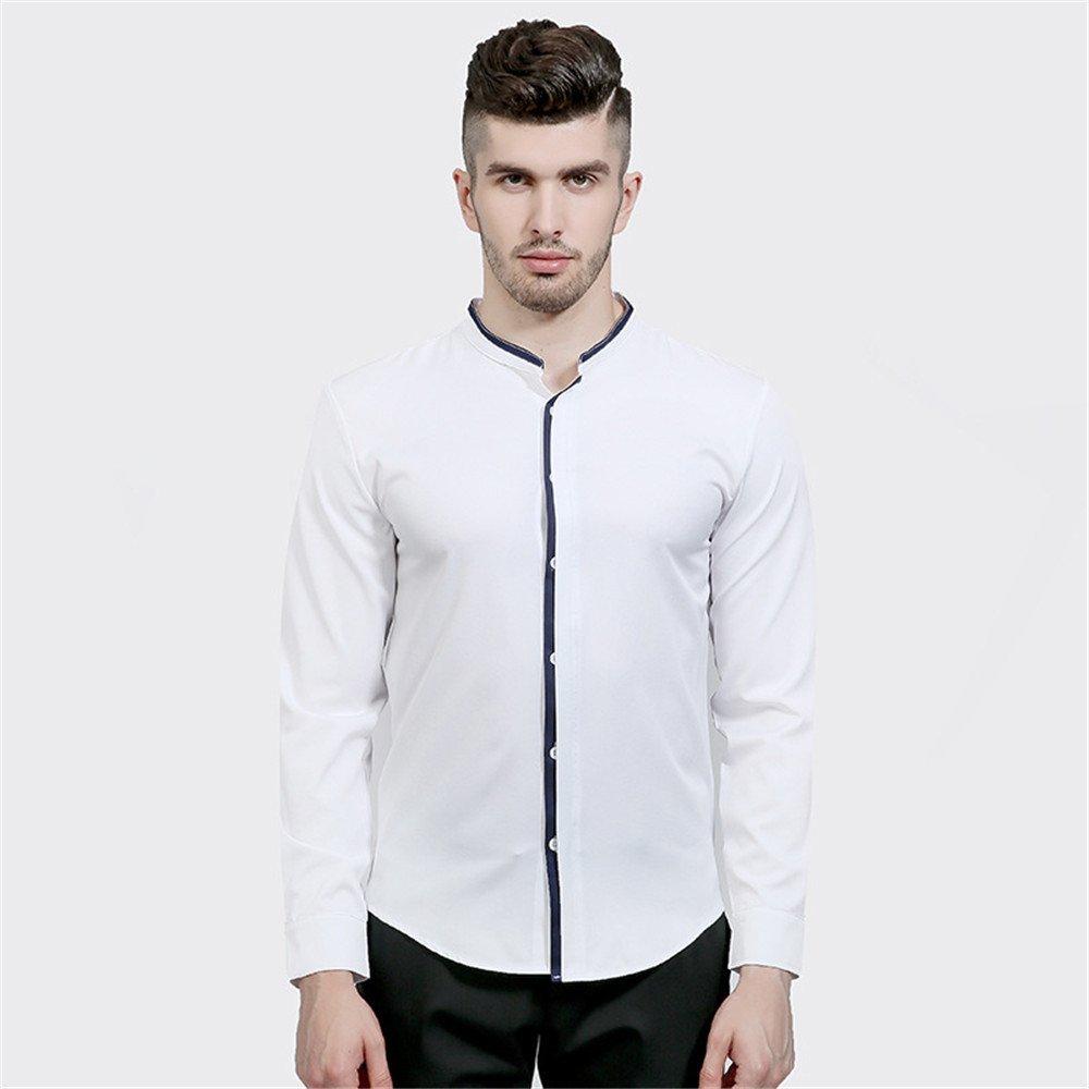 Männer - Mode lässig Hemd Kragen Hemd Farbe einfach,weiße,XXL