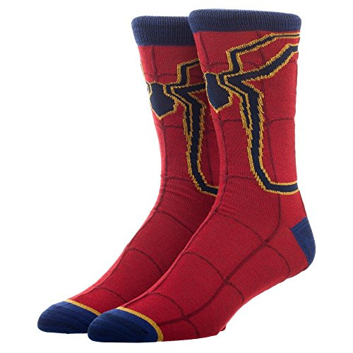Spiderman Print Athletic Crew Sock, Spider-Man Character Costume Design, Red Blue with Web by Bioworld
