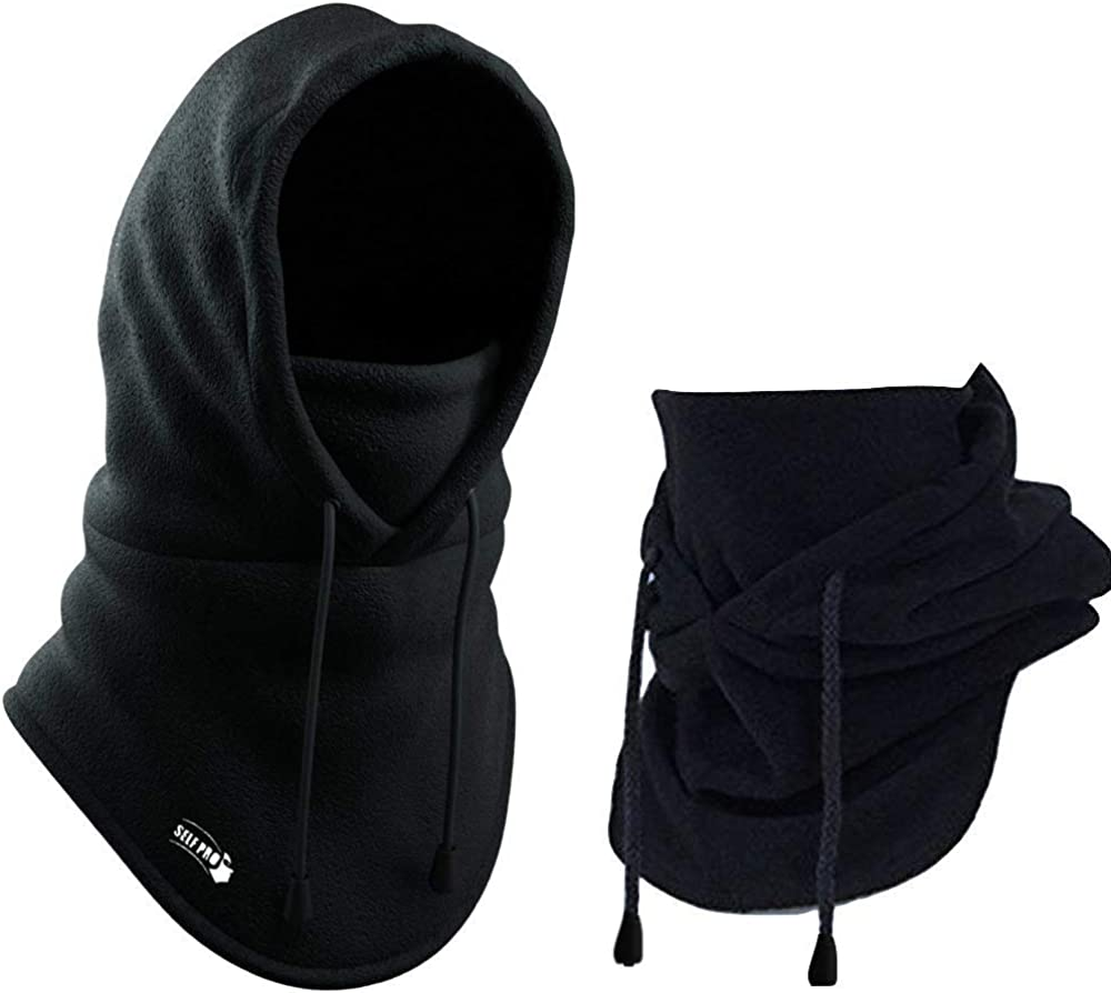 Balaclava Fleece Hood - Windproof Face Ski Mask - Ultimate Thermal Retention & Moisture Wicking with Performance Soft Fleece Construction, Black, One Size: Clothing