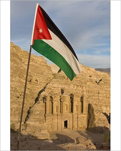 10x8 Print of The Jordanian flag in front of Al Deir (the Monastery) at sunset, Petra ()