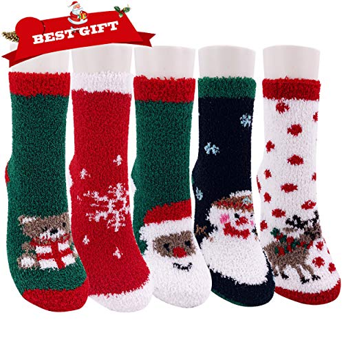 Northern Brothers Christmas Fuzzy Socks,5 Pairs Slipper Santa Fluffy Socks Women,Non-Slip Holiday Cute Cozy Socks XMAS Socks]()