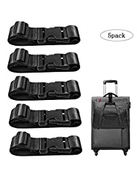 5 Pack Add a Bag Luggage Strap, CKANDAY Travel Suitcase Adjustable Belt Attachment Accessories for Connect Your 3 Luggage Together - Black